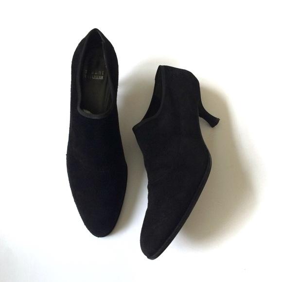 Stuart Weitzman Shoes - Stuart Weitzman Black Suede Slip-On Heel Booties